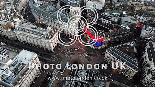 4K Aerial View Of Piccadilly Circus, City Of London, England