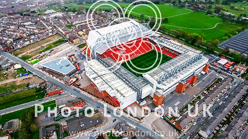 Aerial View Photo Of Anfield Stadium In Liverpool. Iconic Football Ground And Ho