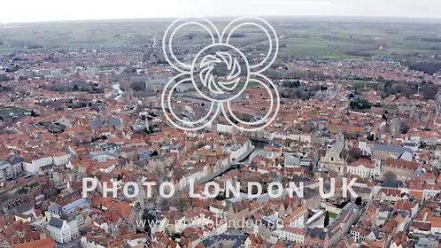 Bruges Urban Aerial View In Belgium
