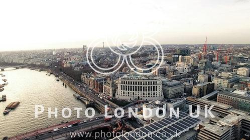 Aerial View City Of London And Blackfriars Bridge