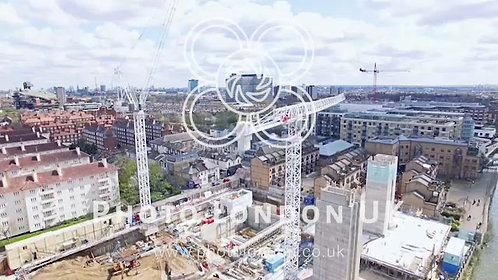 Aerial View Of A Construction Site Cranes In The City Of London