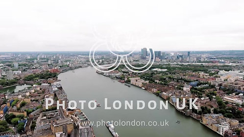 4K Aerial Stock Footage Of Canary Wharf And River Thames, London England