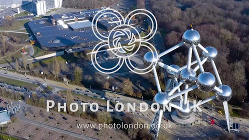 Flying Along World Fair Atomium In Brussels Belgium