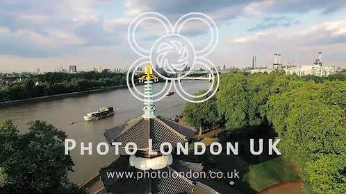 4K Aerial Thames River View In Battersea Park And Peace Pagoda Temple In London