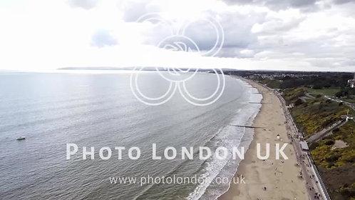 Beautiful Aerial View Of English Seaside Beach Of Bournemouth, Uk - 4K