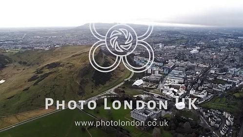 Aerial View Iconic Landmarks Arthur's Seat Hill In Edinburgh Scotland Uk 4K