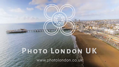 Aerial View Of Brighton Pier, Sea And Beach