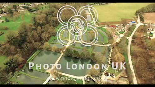 English Countryside Pond And Farm Aerial Video
