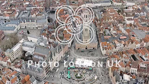 Bruges Aerial City View Feat. Belfry Of Bruges And Market Square