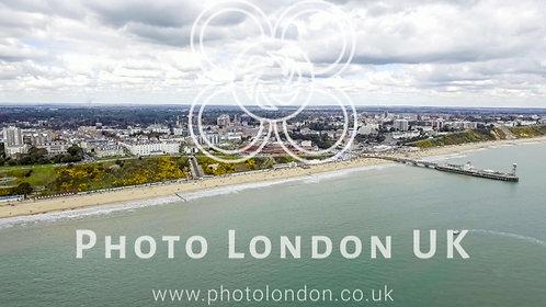 Bournemouth Beach Sea City Aerial View 4K