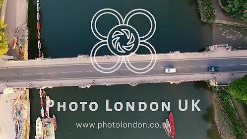 Aerial View Metal Bridge Over River