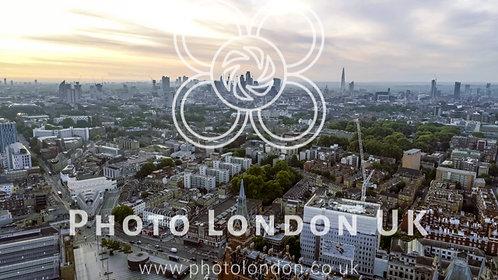 Aerial View London Sunrise Cityscape Iconic Landmarks