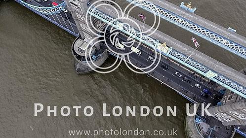 Aerial Bird Eye View Of Iconic Tower Bridge In London