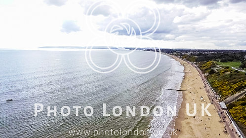 Aerial View Photo Of English Seaside Beach Of Bournemouth