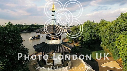 Aerial Thames River View In Battersea Park And Peace Pagoda Temple In London