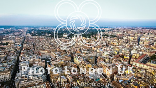 Aerial View Of Rome Cityscape Urban View In Italy