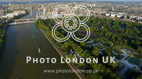 Aerial View Of Central London Featuring The River Thames And Battersea Park 4K