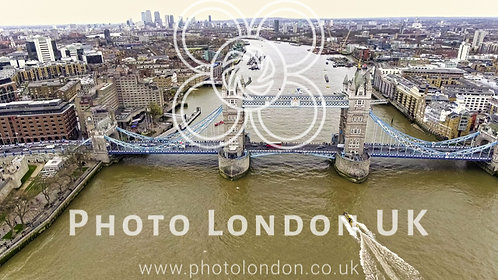 Aerial View Of Flying Over Tower Bridge And River Thames In London
