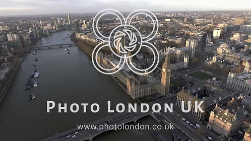 London Aerial Cityscape With Famous Tourism Sights Landmarks