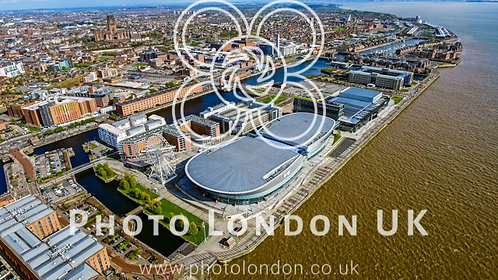 Aerial View Of Liverpool City Photo With Docks, Wheel, Modern Buildings