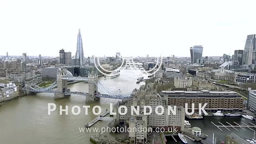 High Angle Aerial View Of Tower Bridge, Thames River, The Shard London Skyline