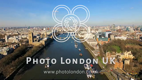 4K Aerial View Big Ben Parliament London Eye River Thames In London
