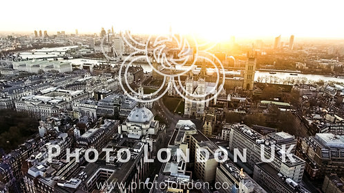 Panoramic Aerial View Of Houses Of Parliament Big Ben Icon In London