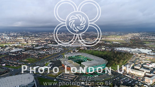 Aerial View Of Celtic Park Fc Stadium Football Arena In Glasgow