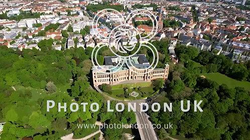 4K Aerial View Of Iconic Maximilianeum In Munich