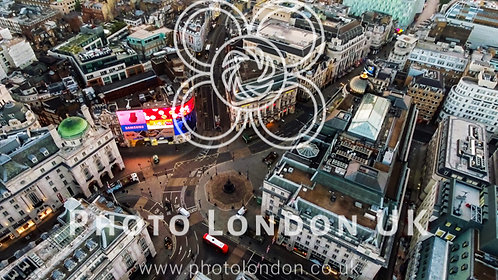 Aerial View Of Iconic Famous Landmark Square Piccadilly Circus