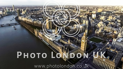 Aerial View Of Iconic Landmark London Big Ben Houses Of Parliament