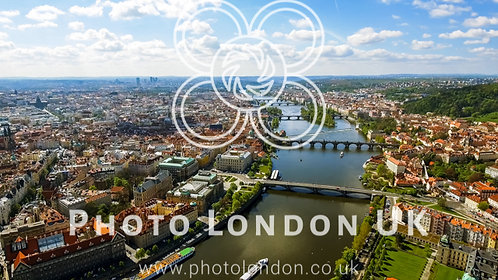 Aerial View Photo Of Historic Old Town Gothic Prague Cityscape In Czech Republic