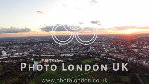 Aerial View London Urban Cityscape With Beautiful Dusk Sky Clouds In Regent's
