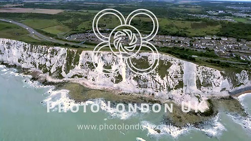 4K Aerial View Drone Shot Coast Of The White Cliffs Of Dover