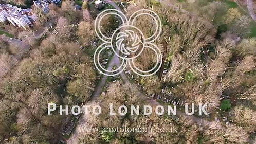Aerial Bird's Eye View Of Historic Graveyard Highgate Cemetery London