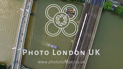 4K Aerial View Of Transport : Cars On A Bridge, Train On Railway Bridge And Boat
