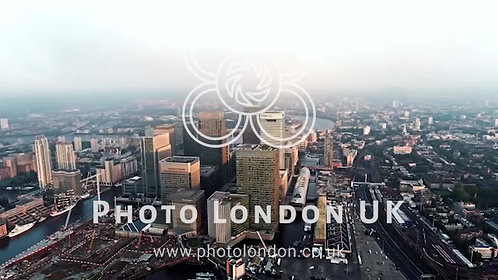 4K Aerial Footage Above The Towers Of London's Financial District, Canary Wharf