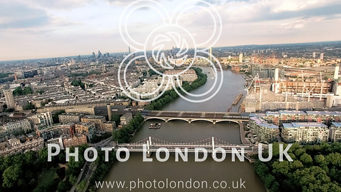 Aerial View Above The Thames River Battersea Park And Chelsea Bridge London