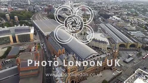Aerial View Of Iconic Landmarks Kings Cross St Pancras Railway Stations London