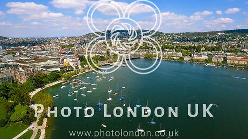 Aerial View Of Yachts Around Lake Marina In Zurich