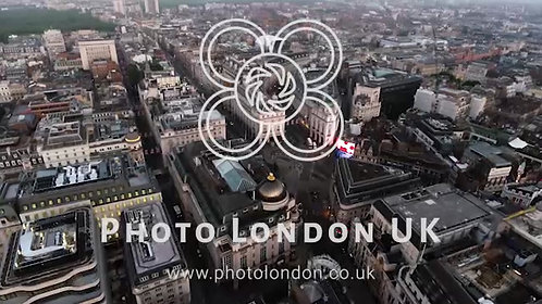 London City Central Town Piccadilly Circus Aerial View 4K