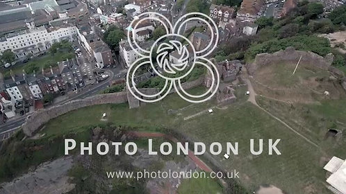 Aerial Video Of Urban Cityscape And Old Castle