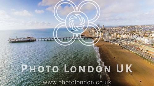 Aerial View Photo Of Brighton Pier, Sea And Beach Uk