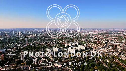 Aerial View Of A Residential Area Of London On A Clear Bright Sunny Day