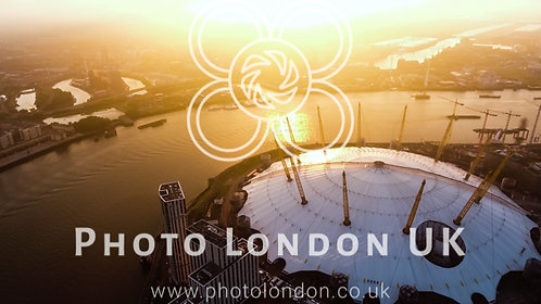 Aerial View Flying By London O2 Arena Concert Hall By The River Thames
