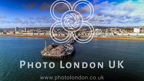 Aerial View Of Pier And Beach In Brighton England Uk
