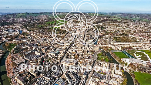 Aerial View Of Bath Cityscape In England Uk