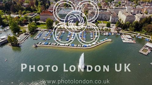 Fountain And Luxury Marina Boats In Zurich Switzerland Aerial View
