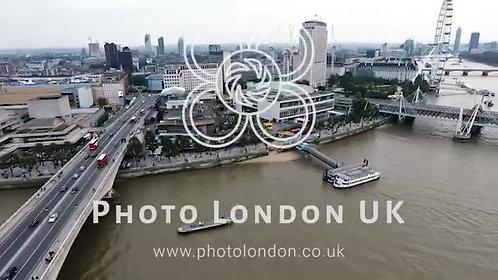 Aerial Urban View City Of London And Waterloo Bridge