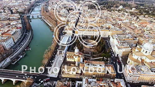 Aerial View Photo Of Historic Medieval Rome Cityscape In Italy